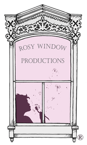 Rosy window logo pretty window frame with silhouette of child blowing dandelion fluff